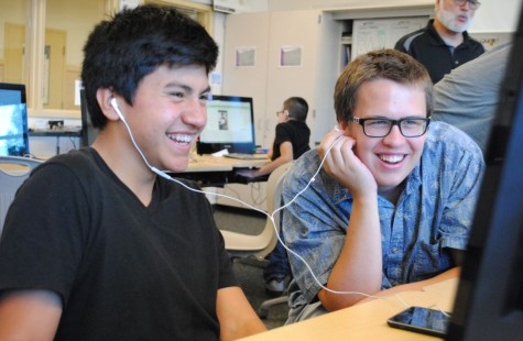 Freshman Hassler Molina and sophomore Ryan Leggett test out their prototype soundboard apps and learn the basics of mobile design.