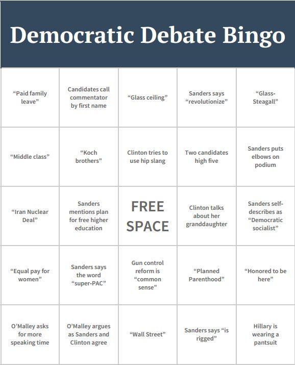 Democratic+Debate+Bingo