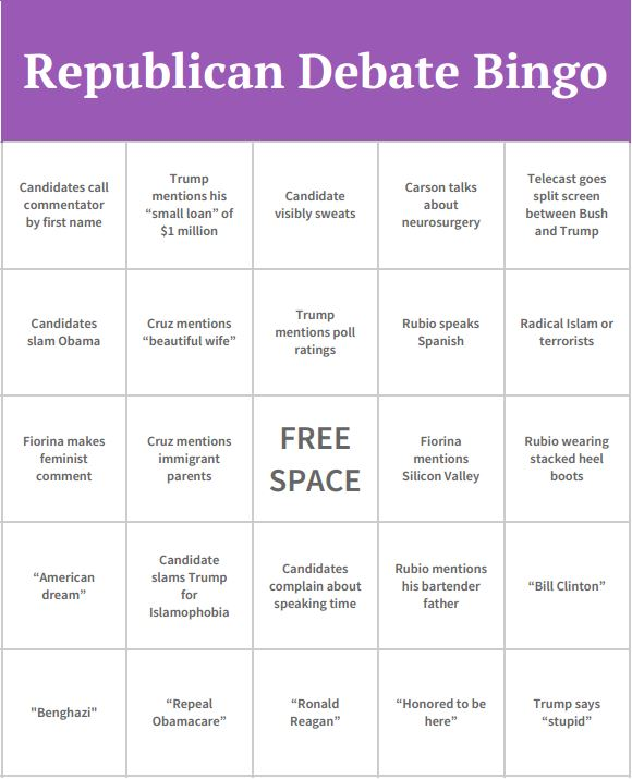 Republican+Debate+Bingo