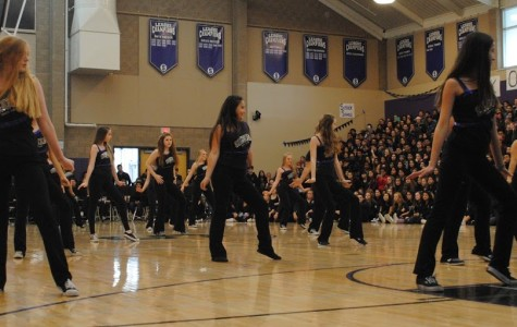 Sequoia dance team performs at the Winter rally in Gym 1 with the sport banners shown in the background.