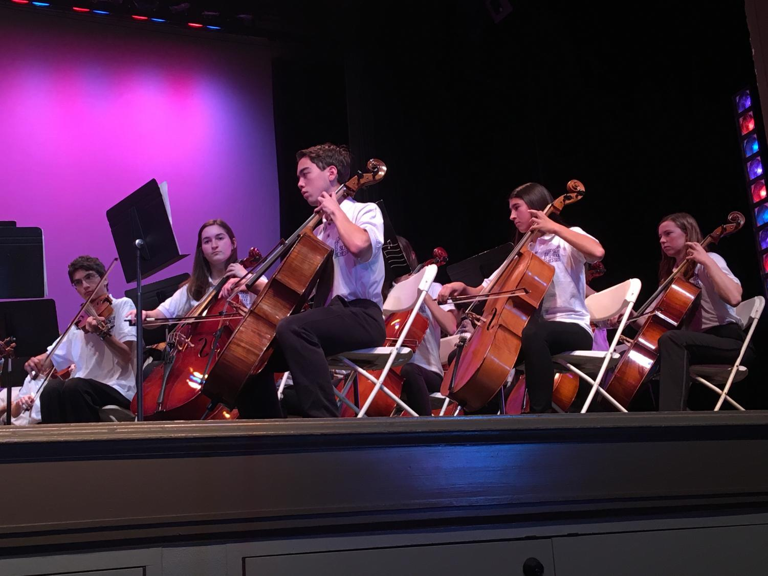 Orchestra plays during the winter concert Dec. 6. Both Advanced Band and Band II held their Winter Concert the following night.