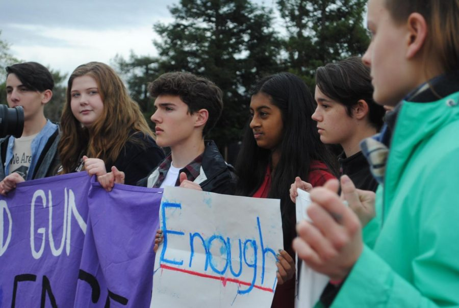 Hundreds+of+students+gathered+on+Mar.+14+to+protest+gun+violence+in+school+shootings.+The+walkout+featured%0Astudents%E2%80%99+speeches%2C+such+as+senior+Shasta+Sholes%2C+president+of+the+Social+Justice+League.
