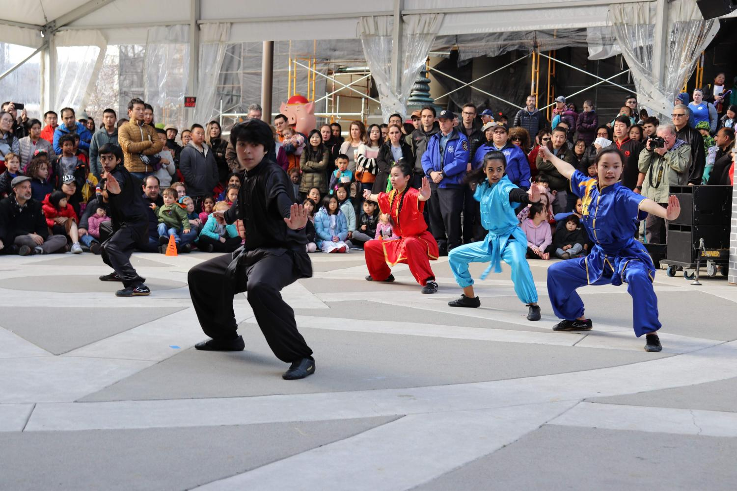 California+Kung+Fu+%26+Tai+Chi+martial+artists%2C+and+Shaolin%0ALion+Dancers+performed+in%0Athe+square.