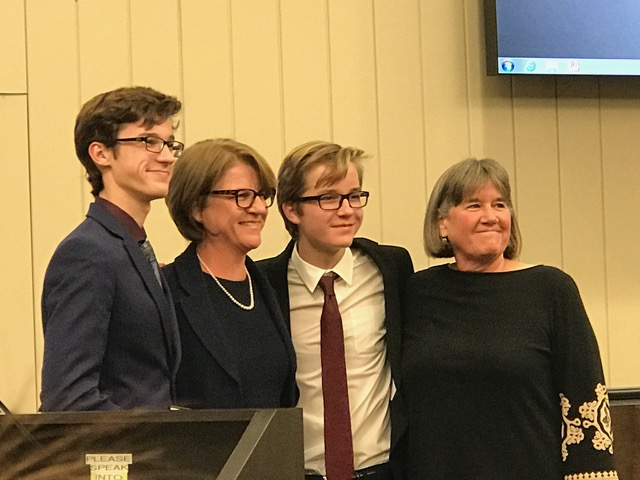 On Dec. 10 Bradley and Greg Parmer-Lohan swore in their mother Laura to San Carlos' City Council before she participated in her first City Council meeting as a councilwoman.